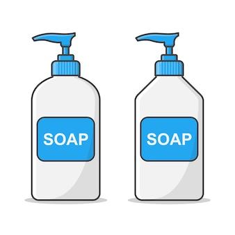 Illustration de bouteille en plastique de pompe de distributeur de savon liquide. bouteille de savon antibactérien liquide. bouteille de lavage à la main plate