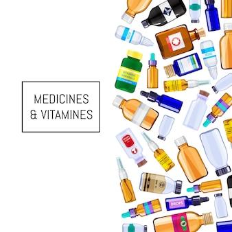 Illustration de bouteilles de médecine pharmacie couleur