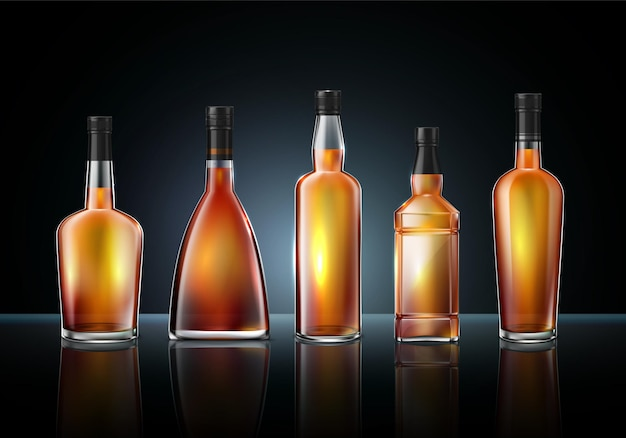 Illustration de bouteilles en verre de whisky cognac brandy