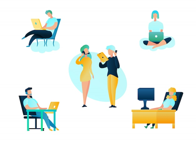 Illustration boutique en ligne d'assistance du centre d'appels