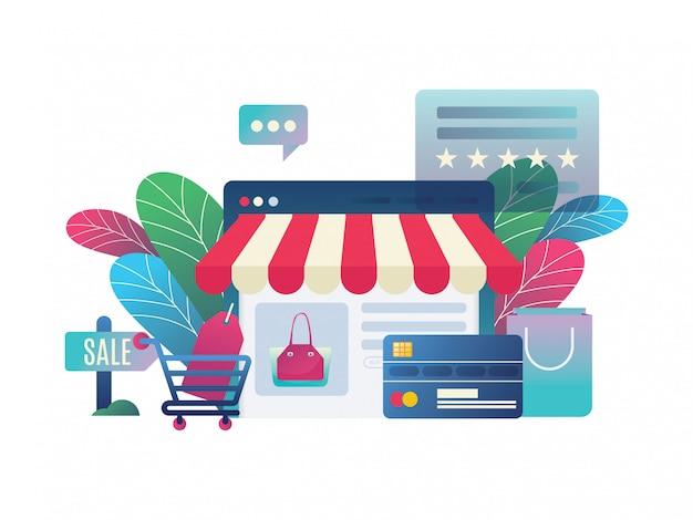 Illustration boutique en ligne au style moderne