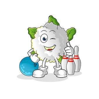 Illustration de bowling de jeu de chou-fleur