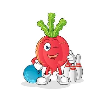 Illustration de bowling de jeu de radis