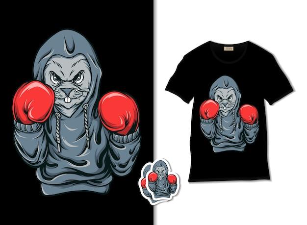 Illustration de boxe lapin