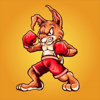 Illustration de boxeur lapin