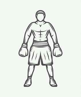 Illustration de boxeur rétro vintage