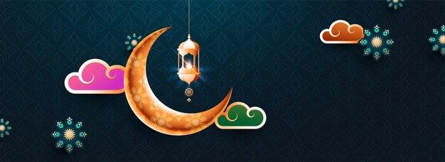 Illustration brillante colorée de la lanterne, la lune et le ciel sur ramad