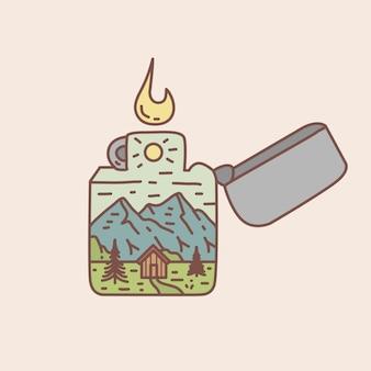 Illustration de briquet extérieur monoline