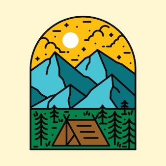Illustration de broche de patch nature montagne randonnée camp