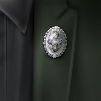 Illustration de la broche vintage de bijoux avec des pierres précieuses lumineuses