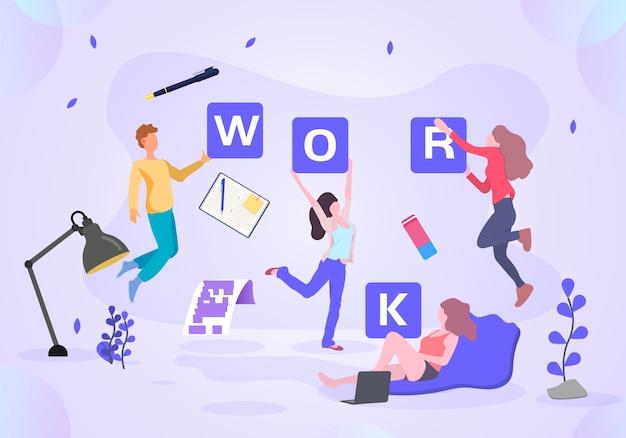Illustration de bureau d'affaires en milieu de travail