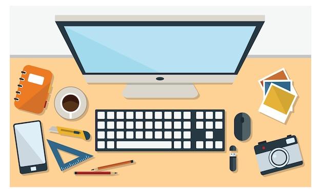 Illustration de bureau et de papeterie en vue de dessus de style plat