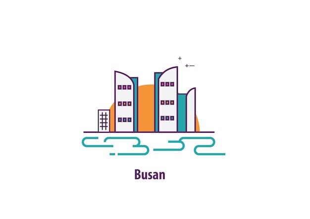 Illustration de busan en corée du sud avec le vecteur d'art de ligne