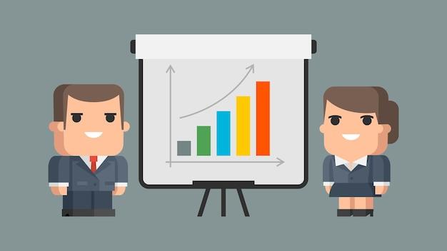 Illustration businessman business woman et flip-chart, format eps 10