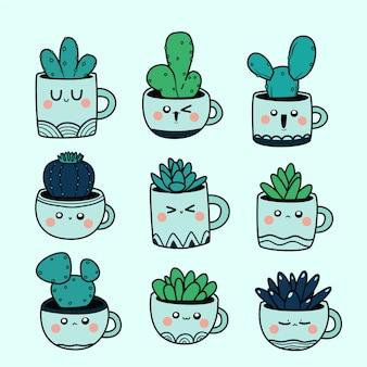 Illustration de cactus kawaii doodle