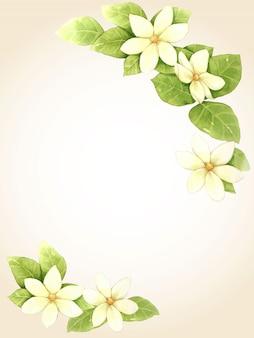 Illustration de cadre aquarelle fleur et feuille blanche