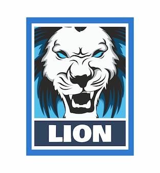 Illustration de cadre de conception de lion en colère isolée
