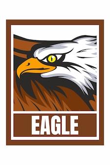 Illustration de cadre de conception de visage d'aigle isolé