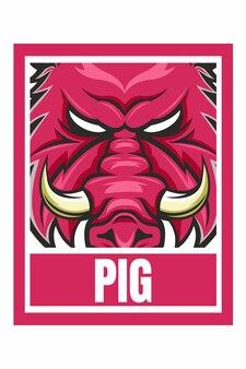Illustration de cadre de conception de visage de cochon isolé