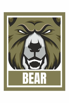 Illustration de cadre de conception de visage d'ours isolé