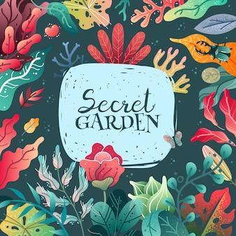 Illustration de cadre décoratif printemps été. une grande variété d'éléments végétaux.