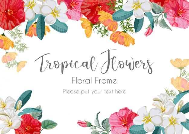 Illustration de cadre de fleur tropicale