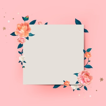 Illustration cadre floral maquette