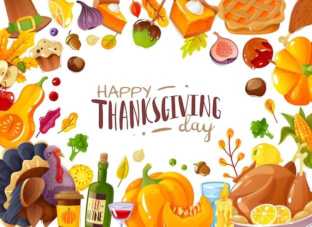 Illustration de cadre de jour de thanksgiving. style de dessin animé d'illustration de cadre sur le thème de l'action de grâces et du festival des récoltes icônes de vacances familiales traditionnelles éléments isolés