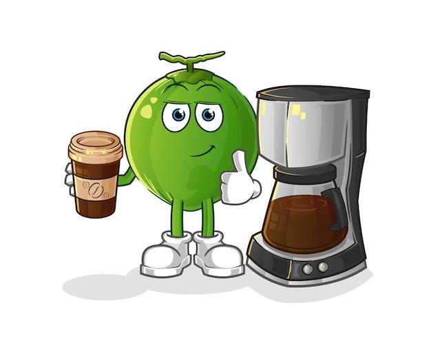 Illustration de café buvant de noix de coco