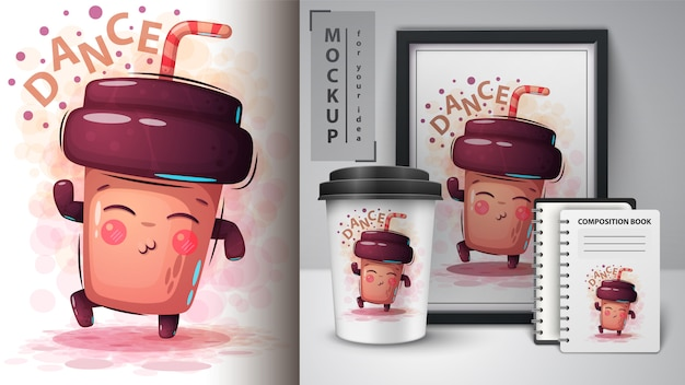 Illustration de café de danse et merchandising