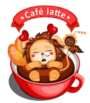 Illustration de café avec lion et orange