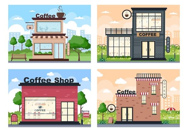 Illustration de café avec panneau ouvert, arbre et extérieur de magasin de bâtiment. concept de design plat