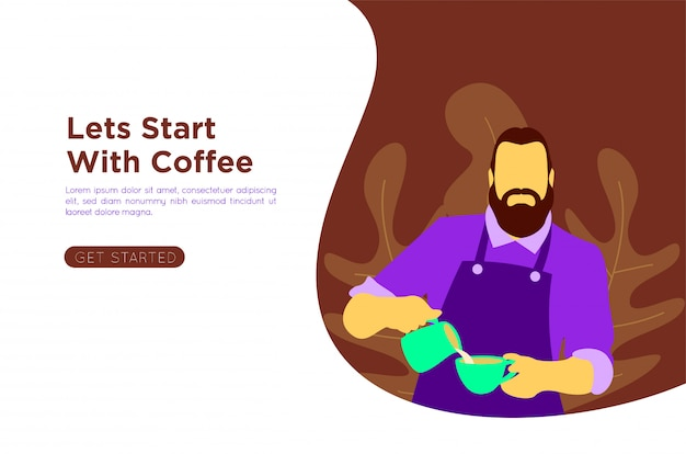 Illustration de café plat barista
