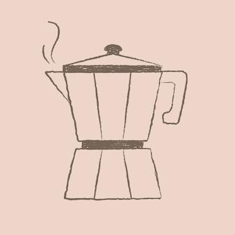 Illustration de café en pot moka, vecteur de conception de café et de boulangerie