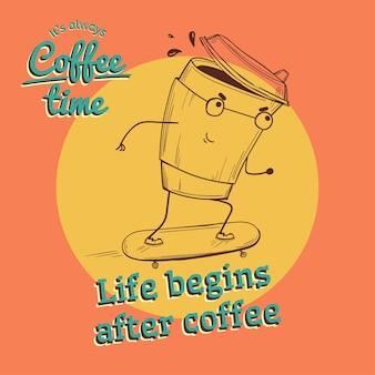 Illustration de café vintage rétro avec personnage sur planche à roulettes