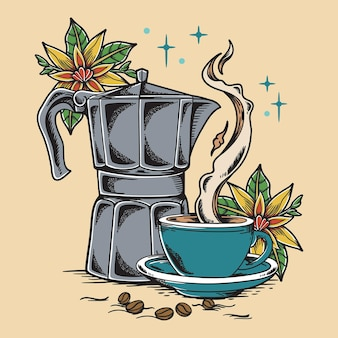 Illustration de café vintage