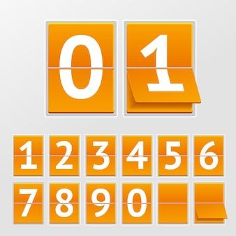 Illustration calendrier mécanique numéros blancs sur planches orange isolés sur fond gris.