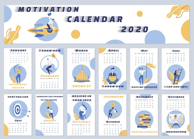 Illustration calendrier de motivation 2020 lettrage.