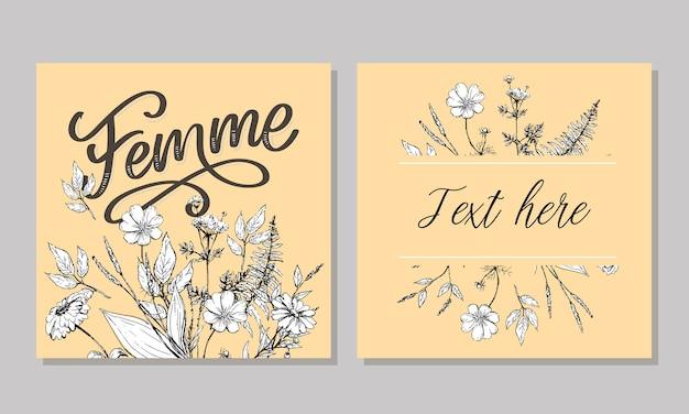 Illustration de calligraphie et de fleurs de lettrage de texte femme décorative