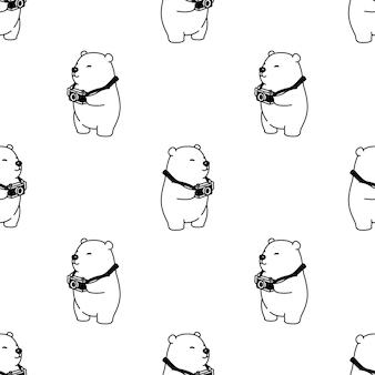 Illustration de caméra modèle sans couture polaire ours