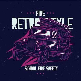 Illustration de camion de pompiers vintage