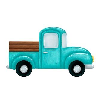 Illustration d'une camionnette de ferme verte dessin animé mignon isolé
