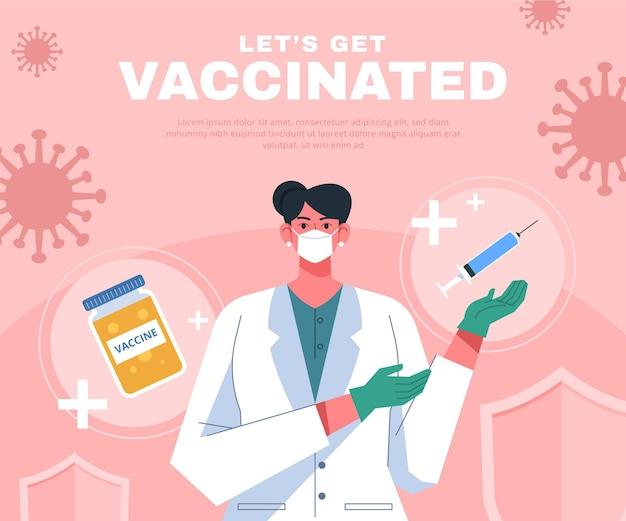 Illustration de campagne de vaccination plat biologique