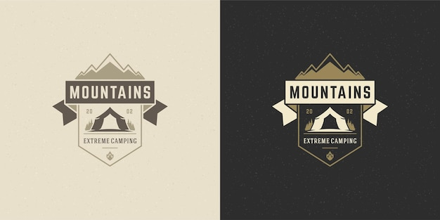 Illustration de camping aventure emblème logo montagnes