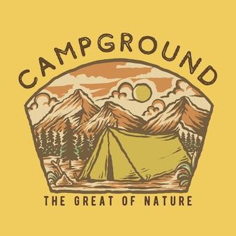 Illustration de camping de montagne dessinée à la main