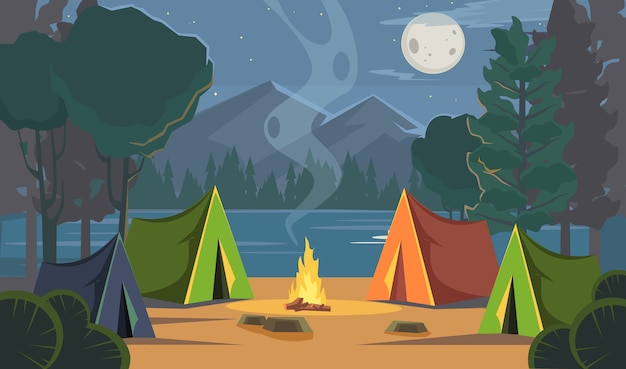 Illustration de camping de nuit