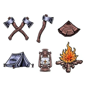 Illustration de camping objets de vacances ensemble, ligne dessinée à la main avec couleur numérique