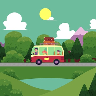 Illustration camping plat, scène road trip