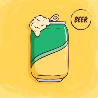 Illustration d'une canette de bière ouverte avec un style coloré mignon doodle sur jaune