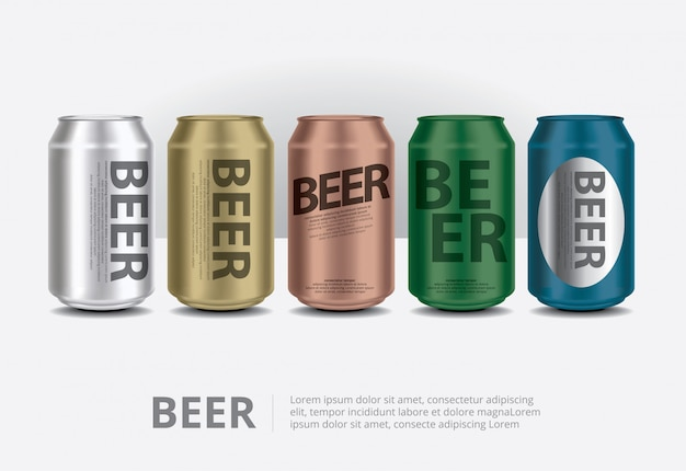 Illustration de canettes d'aluminium bière isolé
